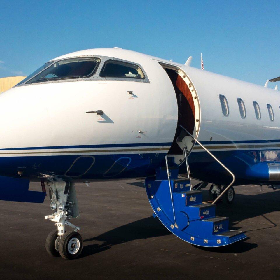 Challenger 300 private jet with door open