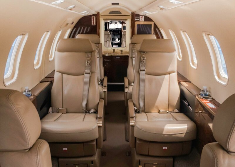 Photo of interior of a private jet.