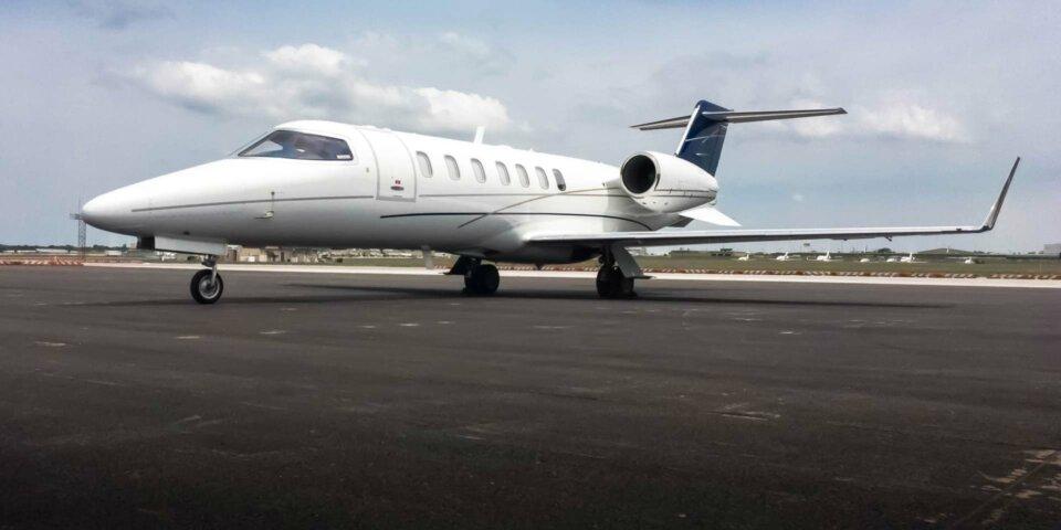 Learjet 40XR private jet on tarmac