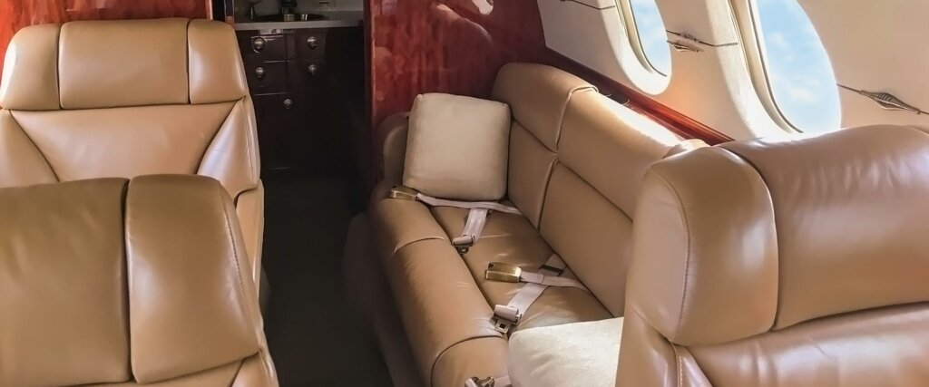 Hawker 900XP interior couch seating