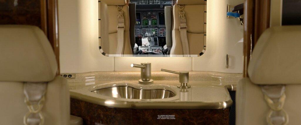 Bombardier Learjet 40XR interior lavatory mirror